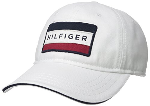 (Tommy Hilfiger Men's Cole Dad Hat, Classic White, O/S)