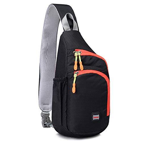 Lecxci Outdoor Chest Sling Shoulder Bag, [Ultra-Lightweight Waterproof Nylon] [Hiking Cycling Camping Travel] Sling Shoulder Chest Daypack Backpack Bag for Man/Women/College Teen Girls (Black)