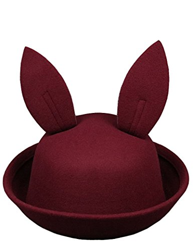 Lujuny Kids Easter Bunny Ear Bowler Hat - Cute Wool Derby Rabbit Cap with Roll-up Brim for Little Girl Boy (Deep red)