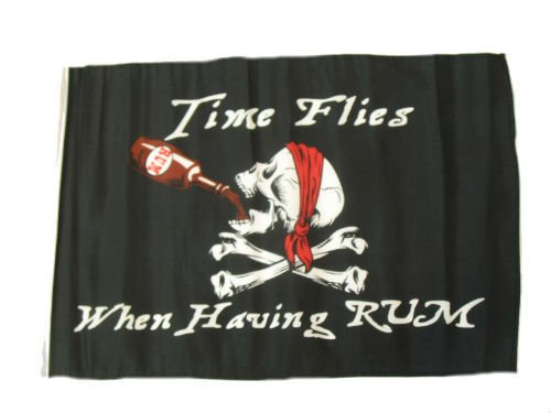 ALBATROS 12 inch x 18 inch Jolly Roger Pirate Time Flies Rum Sleeve Flag for use on Boat, Car, Garden for Home and Parades, Official Party, All Weather Indoors Outdoors