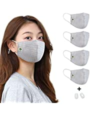 think ECO organic cotton breathable reusable with inner pocket and Strap adjuster(1set) any time. (Women&Youth, Light Blue 4pcs)