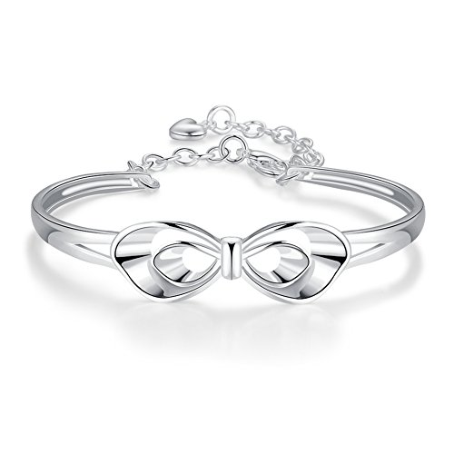 Coleman Sterling Silver Bracelet (Bowknot Bangle Bracelet Fashion Jewelry Silver Plated Bracelet- Lacey D. Coleman)