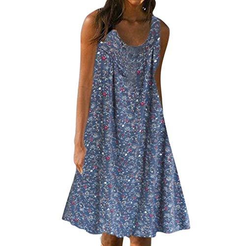 Aniywn Plus Size Beach Swing Dress Knee-Length Mini Dress Ladies Casual Floral Boho Sleeveless Loose Tank Dress Navy