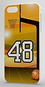 Basketball Sports Fan Player Number 48 White Rubber Decorative iphone 4s Case