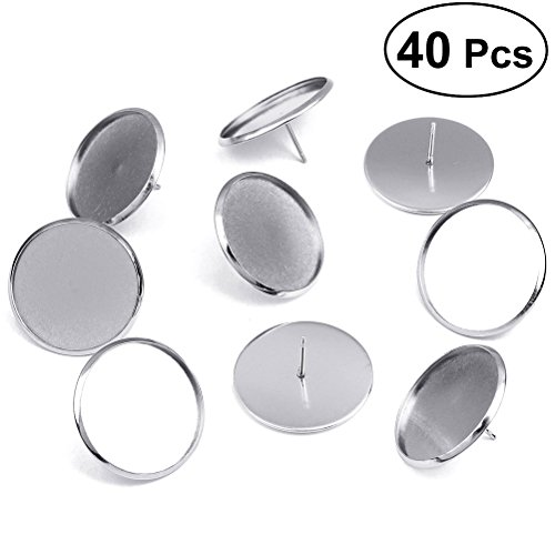 ULTNICE Stud Earring Setting Post Cup 40pcs Stainless Steel Round Earstud Posts ()