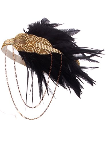 Vijiv Black Gold Headpiece Vintage 1920s Headband Flapper Great Gatsby]()