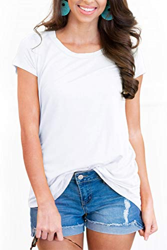 Womens Summer Casual Tshirts Round Neck Solid Color Tops White M ()