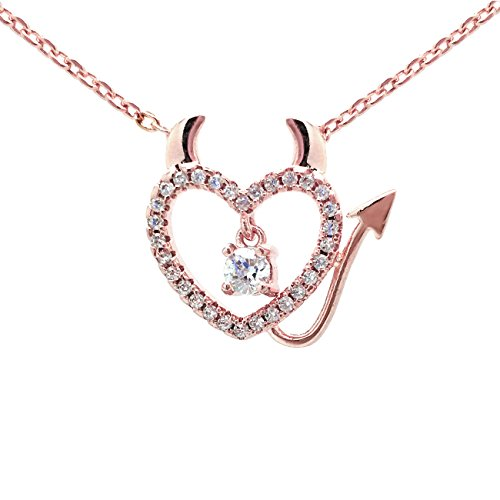 Sparkly Bride Pink Rose Gold Plated CZ Open Heart Ornate Pendant Necklace 18 inches (Naughty Devil Costume)