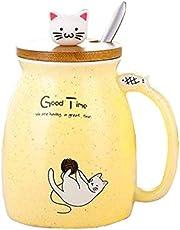 Kat Mok Leuke Keramische Koffie Cup met Mooie Kitty deksel Roestvrij Staal Lepel, Nieuwigheid Ochtend Cup Thee Melk Kerst Mok Gift 380ML