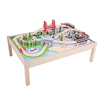Share Facebook Twitter Pinterest  sc 1 st  Amazon.com & Amazon.com: Bigjigs Rail Wooden City Train Set and Table - 59 Play ...
