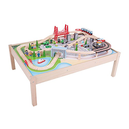 Bigjigs Rail Wooden City Train Set and Table - 59 Play Pieces - Other Major Rail Brands are Compatible -