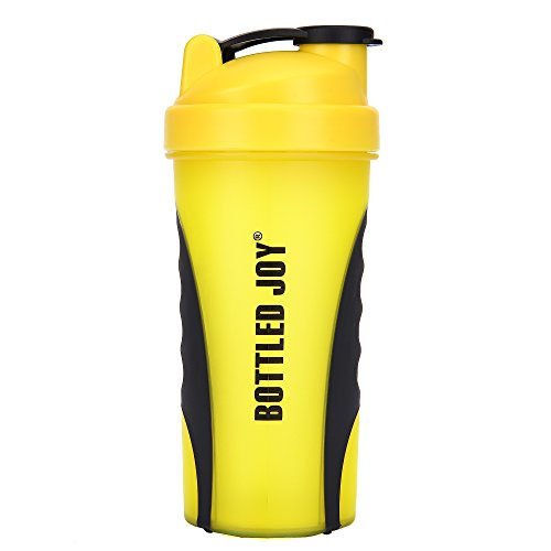 BOTTLED JOY Protein Shaker Bottle, Grip Leak Proof SportMixer Fitness Sports Nutrition Supplements Mix Bottle, Non-slip part 27oz 800ml (Yellow)