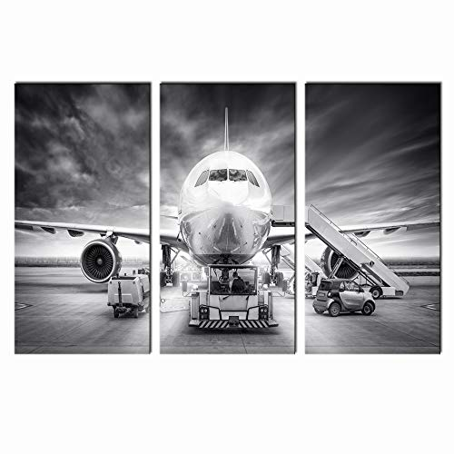 LevvArts - Large 3 Piece Canvas Wall Art Airplane Pictures Framed Black and White Aircraft Art for Office Home Decoration Plane Artwork Ready to Hang
