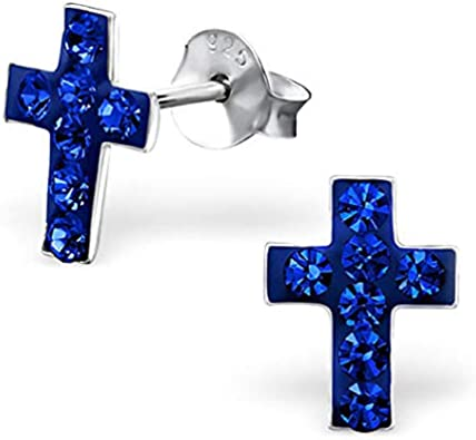 Nickel Free 925 Sterling Silver Clear Crystal Cross Stud Earrings 5000