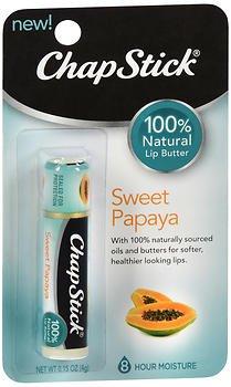 ChapStick 100% Natural Lip Butter Sweet Papaya - 12 ct, Pack of 5