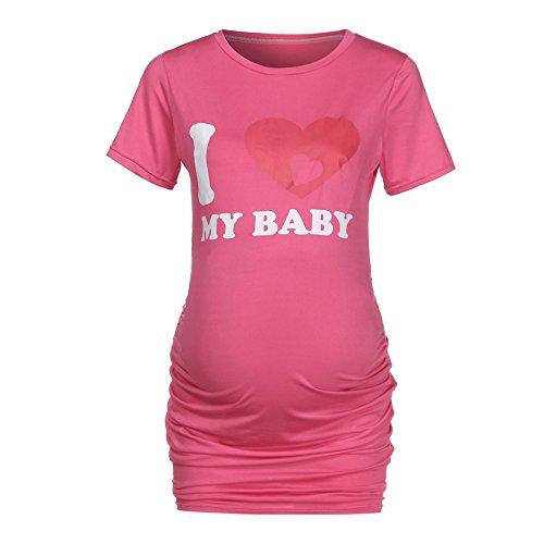 Bxzhiri_Women Tops Short Sleeve Nurse Pregnant Maternity Mother Print T-Shirt Blouse Hot Pink by Bxzhiri_Women Tops (Image #1)