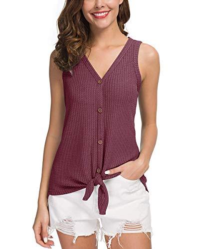 - JJOSIFER Women's Tops V Neck Henley Shirts Waffle Knit Tunic Blouse,Rust Red,XL