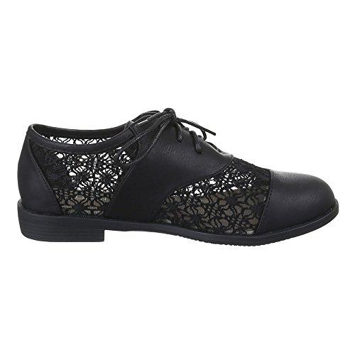 Ital-Design - Zapatos Planos con Cordones Mujer Negro - negro