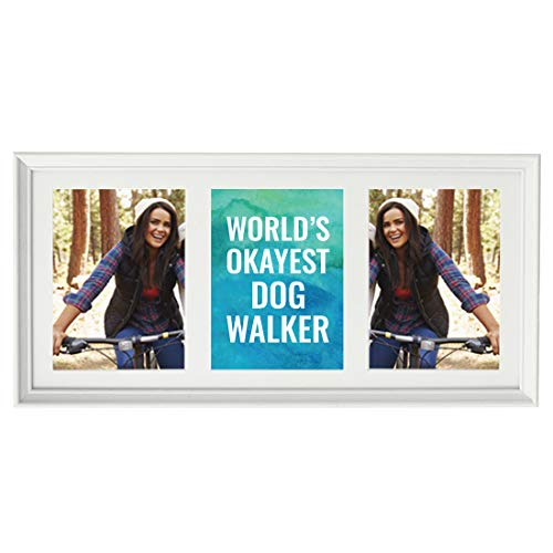 (Andaz Press 20.5-Inch Framed Collage Picture Wall Art Gift, World's Okayest Dog Walker, 1-Pack, Christmas Birthday, Includes Multi Photo White Frame to Display Three 5x7-Inch Photos or Art)