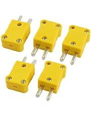 Quata 5 stycken plasthölje kan användas som 2-stifts K-typ termoelement tråd anslutningsdel – gul