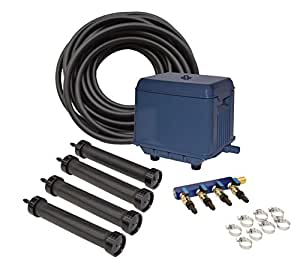EASYPRO STRATUS KLC KOI POND AERATION KIT with Compressor, 4 Diffusers, Quick Sink Tubing and Cord for 4000 to 30000 Gallon Water Feature, Circulates and De-Ices Quietly, Energy Efficient, Fish Safe