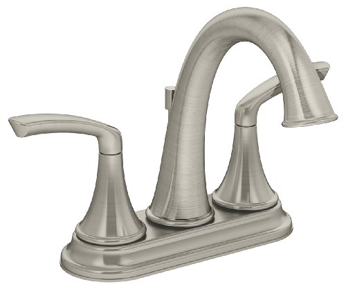 Symmons SLC-5512-STN Elm 4 in. Centerset 2-Handle Bathroom Faucet with Drain Assembly in Satin Nickel (2.2 GPM) 4 Centerset Bathroom Faucet Satin