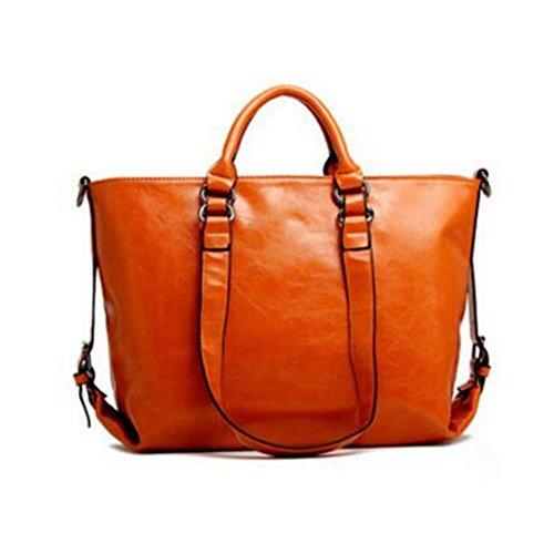 Women PU Leather Waterproof Handbag CrossBody Casual Vintage Shoulder Bag Large Capacity Handbag (Orange)