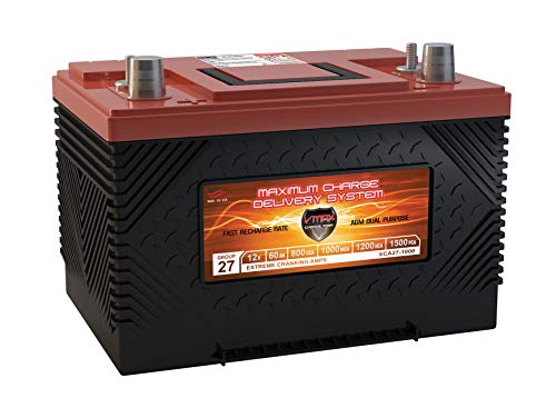 (VMAX XCA27-1000 12V 1000MCA AGM Deep Cycle Group 27 SLA Marine Starting Battery)