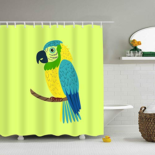 Blue Macaw Parrot Shower Curtain, Extra Long Bath Decorations with Hooks Marriage Gifts for Men and Women Polyester Fabric 65 × 71 inch -