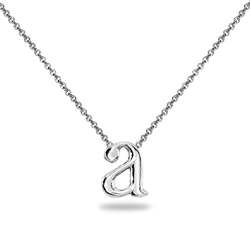 Sterling Silver Initial Alphabet Letter Name Charm Pendant Necklace Personalized Gifts for Women or Girls