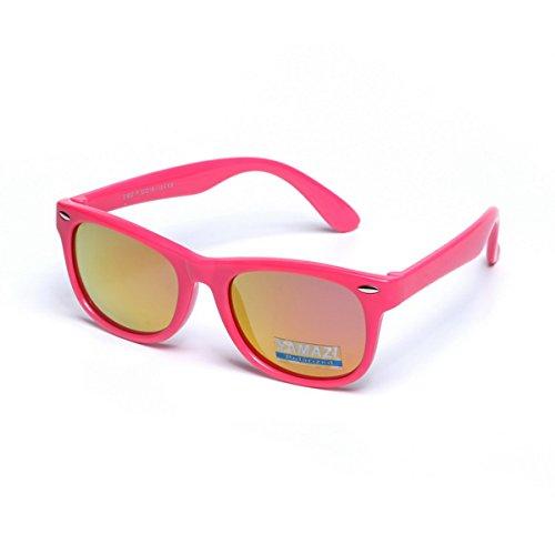 YAMAZI Kids Polarized Sunglasses Sports Fashion For Boys And Girls Mirrored Lens (Pink   Pink Mirrored Lens, - Sunglasses For Girls