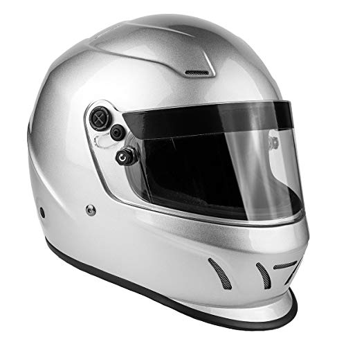 (Snell SA2015 Approved Full Face Racing Helmet (Silver, XL))