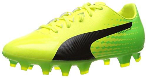 Image of PUMA Evospeed 17 SL S FG Jr Skate Shoe, Safety Yellow Black-Green Gecko, 6.5 M US Big Kid