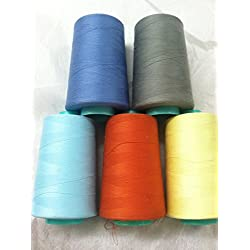 5 A& E Polyester Thread Sets , Machine & Serger 6000 Yards Weight Size Tex 27