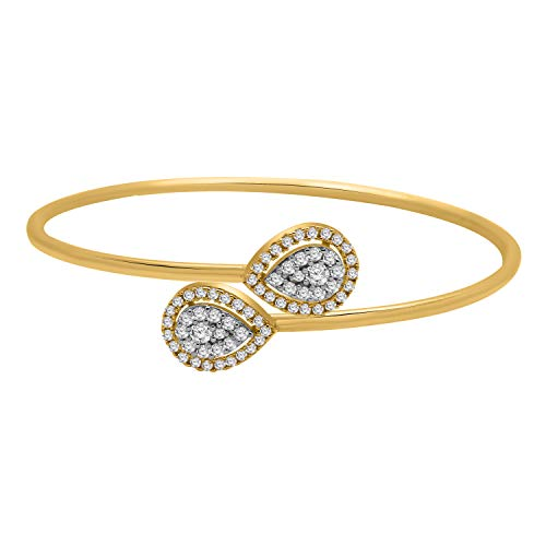 - IGI Certified 0.75CT Round Cut Real Diamond 18K Solid Gold Pear Shape Cluster Bangle Bracelet for Her Gift (yellow-gold)