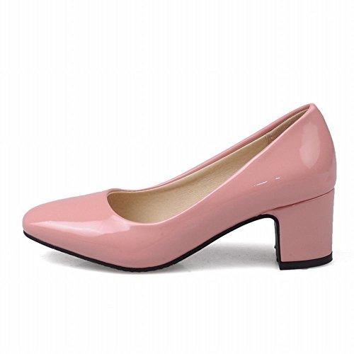 Charm Foot Womens Square Toe Pumps Tacco Grosso Color Crema Rosa