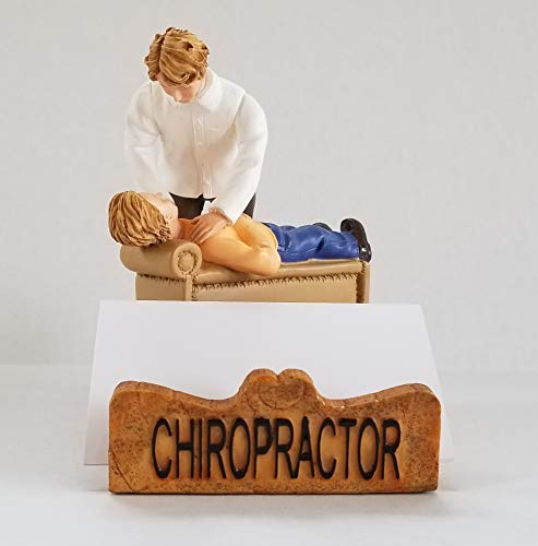 Chiropractor Business Cardholder Figurine. Gift and Collectible - White Male. by RoCo2 Enterprises