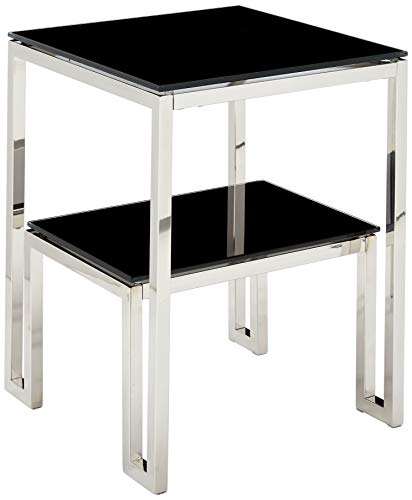 Cortesi Home Contemporary Adina Two Tier Black Glass End Table, Solid
