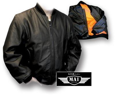 GTH MA1 Leather Flight Jacket, black (X-Large): Amazon.co.uk: Clothing