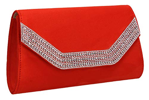 Swankyswans Ladies Clutch Suede Harper Orange Bag Diamante Womens Faux wqfSwT