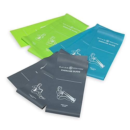 - Gaiam Restore Resistance Band Strength & Flexibility Kit with Self-Guided Exercise Illustrations Printed on Bands