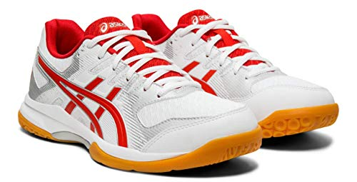 - ASICS Gel-Rocket 9 Women's Volleyball Shoes, White/Classic Red, 8 M US