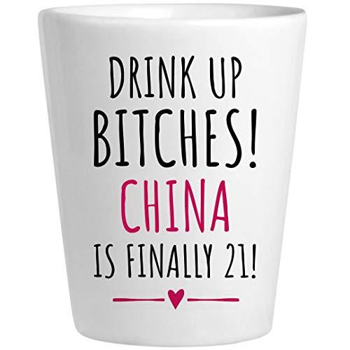 China 21st Birthday Gift: Ceramic Shot Glass -