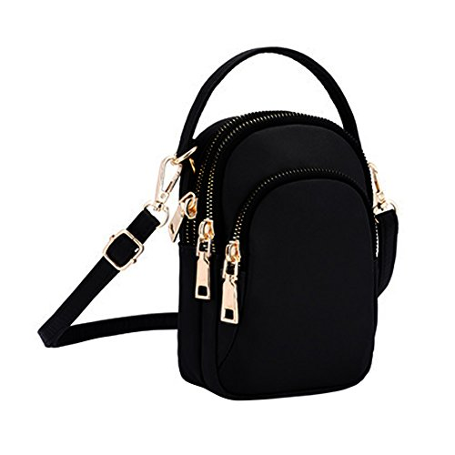 Hole Shoulder Black Headphone Layers Pouch Phone With 3 Women's Handbag Bag Tote Cell Nylon Waterproof qa7BwOwp