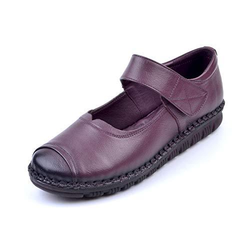 FLYRCX Chaussures Plates en Cuir de Mode rétro Main Cousues à la Main rétro 35 EU|purple bb6e51