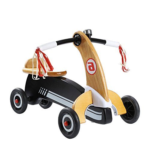 YouHi Baby Balance Bikes Bicycle 4 Wheels No Foot Pedal Wooden Kids Ride Toys for 10-24 Months (Pedal Wooden Car)