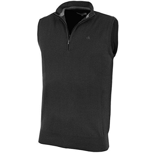 Calvin Klein Golf Men's V Neck Sleeveless Sweater Vest - US M - Charcoal (Calvin Klein Embroidered Sweater)
