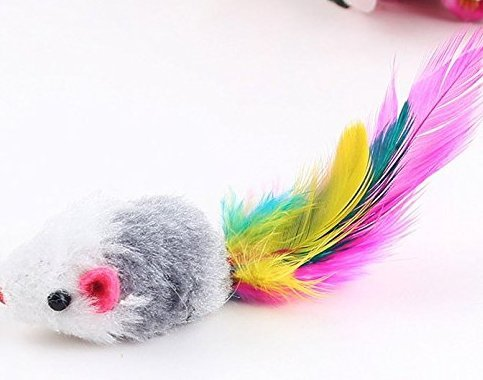 1Pcs Feather Teaser Interactive Stick Toy for Cat and Kitten - Cat Toy Interactive Cat Wand(Random Color) Liroyal