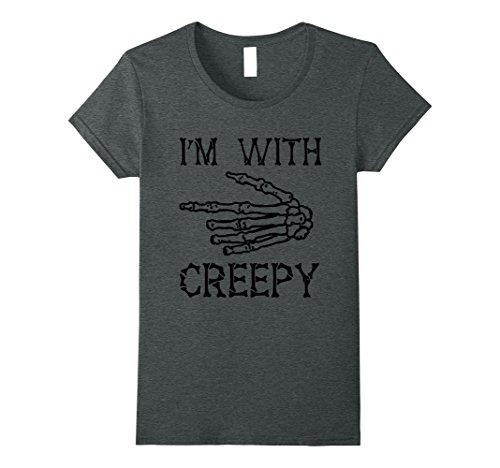 Womens Im With Creepy Halloween Skeleton Shirt XL Dark (Creepiest Halloween Movies)