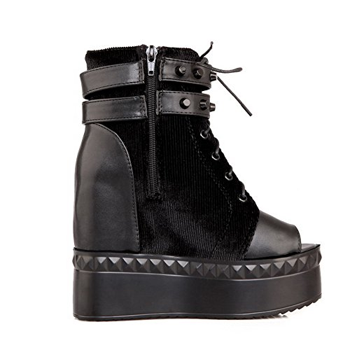 Amoonyfashion Kvinna Zipper Kick-häl Blanda Material Fasta Peep Sandaletter Svarta